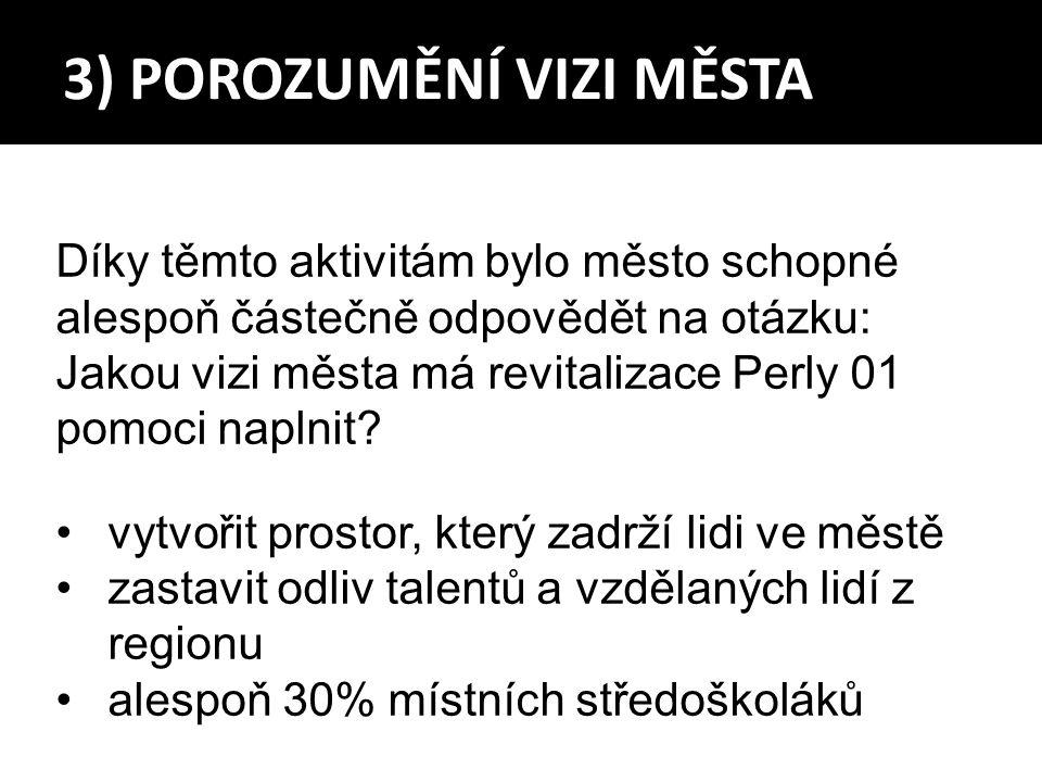 3) POROZUMĚNÍ VIZI MĚSTA Díky těmto aktivitám bylo město schopné alespoň částečně odpovědět na otázku: Jakou vizi města má revitalizace Perly 01 pomoci naplnit.