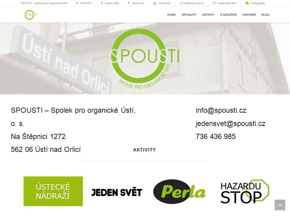 SPOUSTI – Spolek pro organické Ústí, o. s. Na Štěpnici 1272 562 06 Ústí nad Orlicí info@spousti.cz jedensvet@spousti.cz 736 436 985