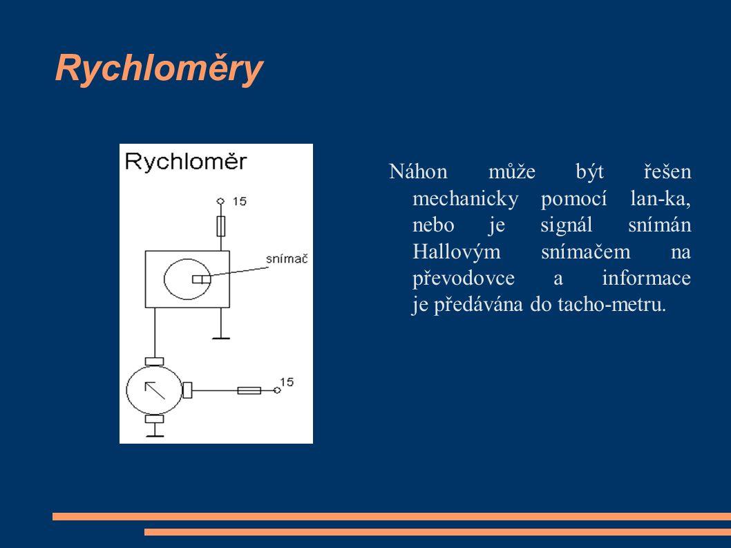 Rychloměry Náhon může být řešen mechanicky pomocí lan-ka, nebo je signál snímán Hallovým snímačem na převodovce a informace je předávána do tacho-metru.