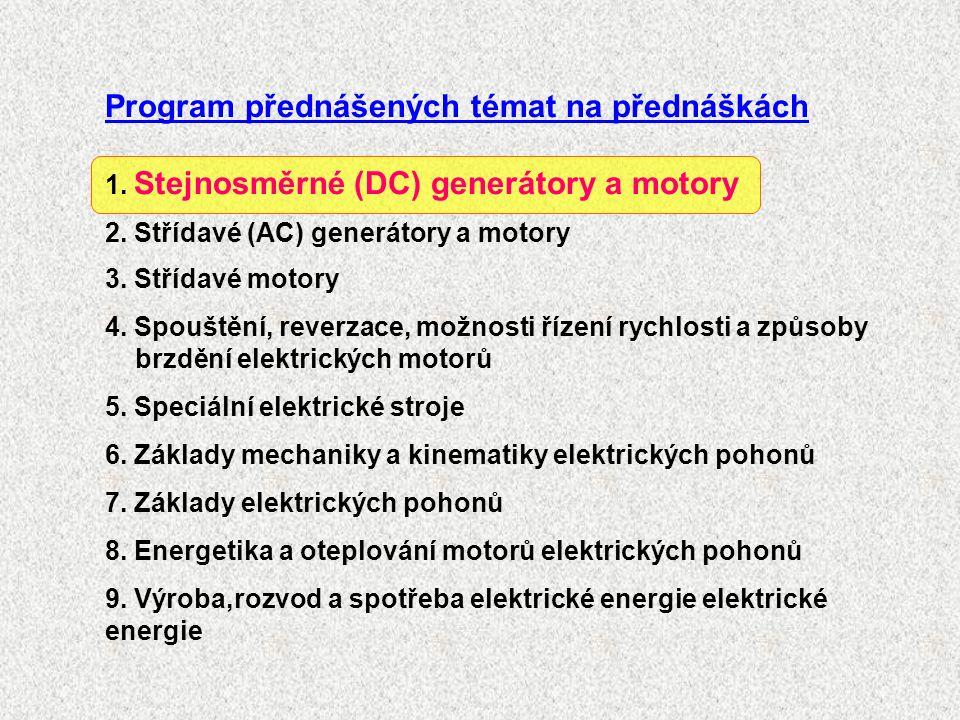Program přednášených témat na přednáškách 1. Stejnosměrné (DC) generátory a motory 2.