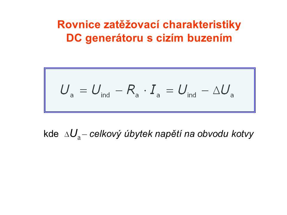 kde  U a – celkový úbytek napětí na obvodu kotvy Rovnice zatěžovací charakteristiky DC generátoru s cizím buzením