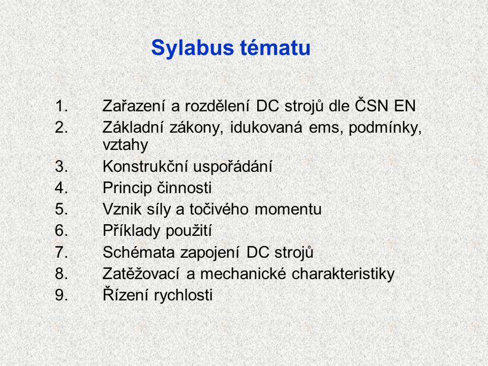 Sylabus tématu 1.Zařazení a rozdělení DC strojů dle ČSN EN 2.Základní zákony, idukovaná ems, podmínky, vztahy 3.Konstrukční uspořádání 4.Princip činnosti 5.Vznik síly a točivého momentu 6.Příklady použití 7.Schémata zapojení DC strojů 8.Zatěžovací a mechanické charakteristiky 9.Řízení rychlosti