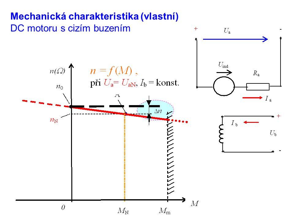 Mechanická charakteristika (vlastní) DC motoru s cizím buzením