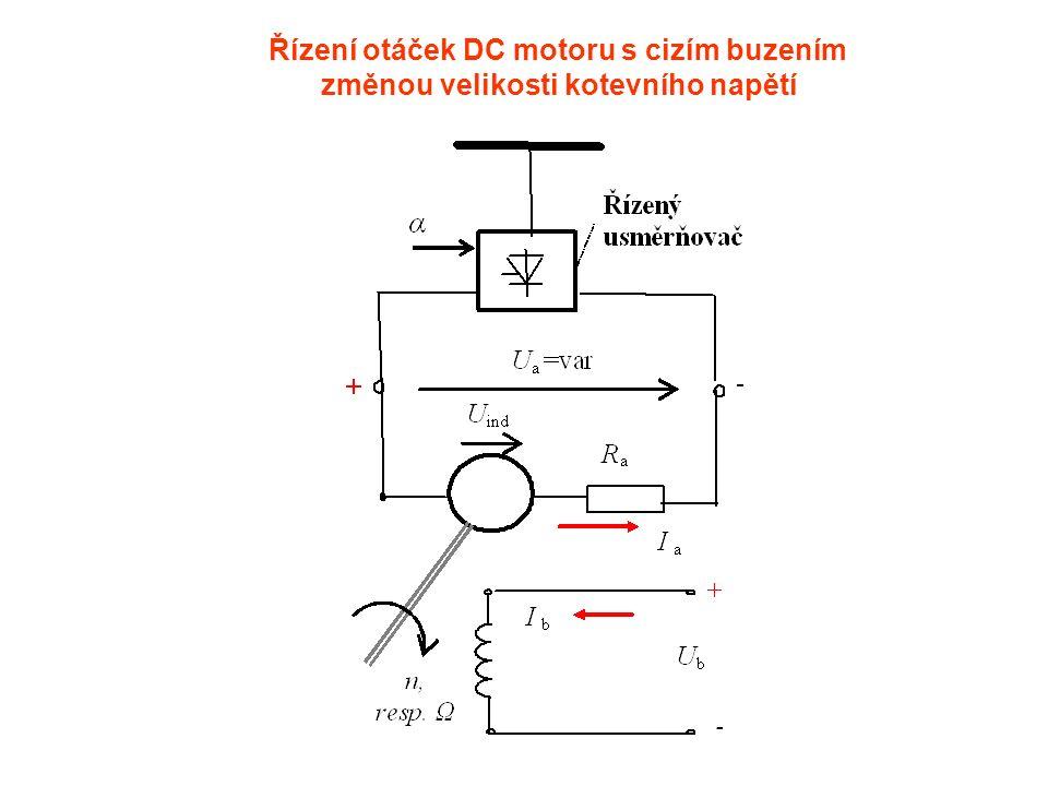 Řízení otáček DC motoru s cizím buzením změnou velikosti kotevního napětí