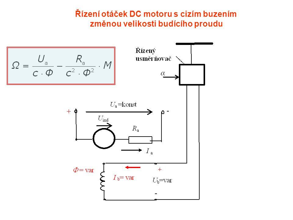 Řízení otáček DC motoru s cizím buzením změnou velikosti budícího proudu
