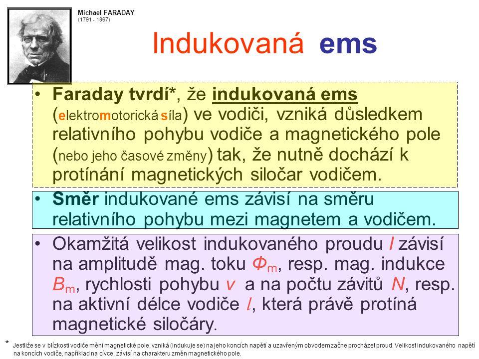 Indukovaná ems Faraday tvrdí*, že indukovaná ems ( elektromotorická síla ) ve vodiči, vzniká důsledkem relativního pohybu vodiče a magnetického pole ( nebo jeho časové změny ) tak, že nutně dochází k protínání magnetických siločar vodičem.