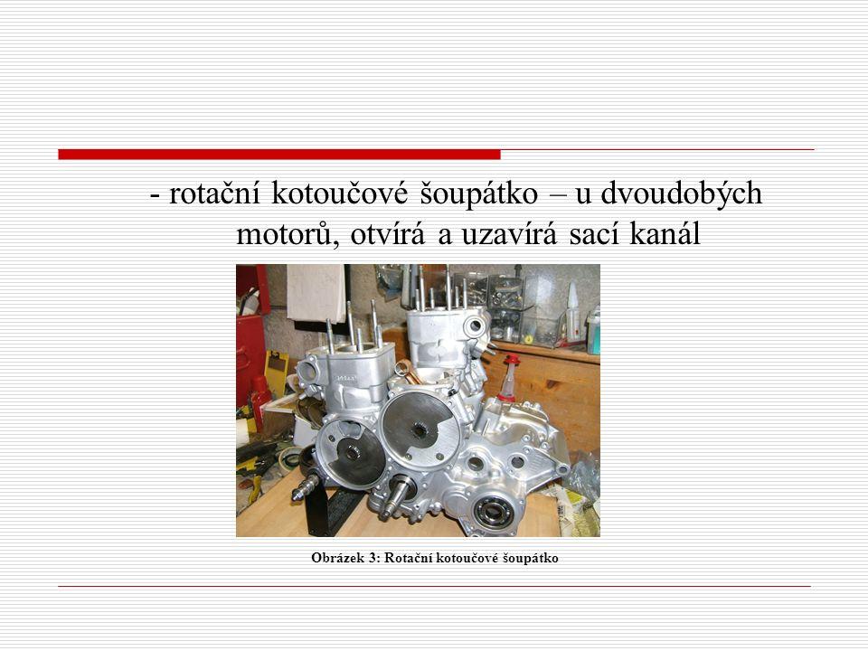 - rotační kotoučové šoupátko – u dvoudobých motorů, otvírá a uzavírá sací kanál Obrázek 3: Rotační kotoučové šoupátko