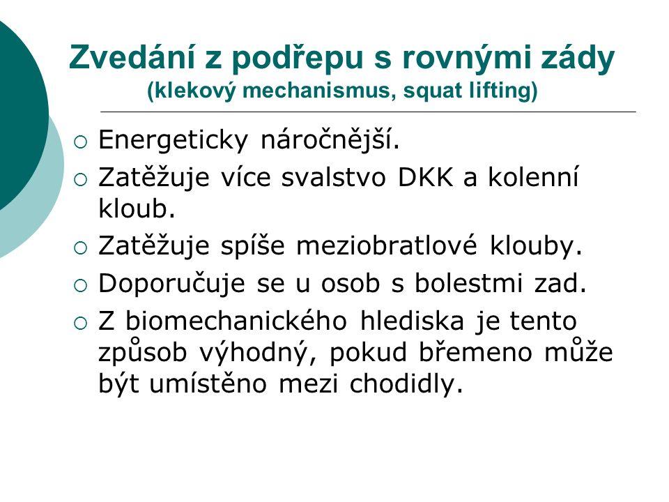 Zvedání z podřepu s rovnými zády (klekový mechanismus, squat lifting)  Energeticky náročnější.