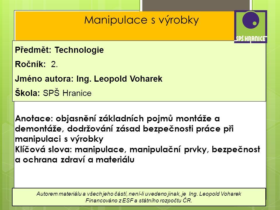 Manipulace s výrobky Předmět: Technologie Ročník: 2.