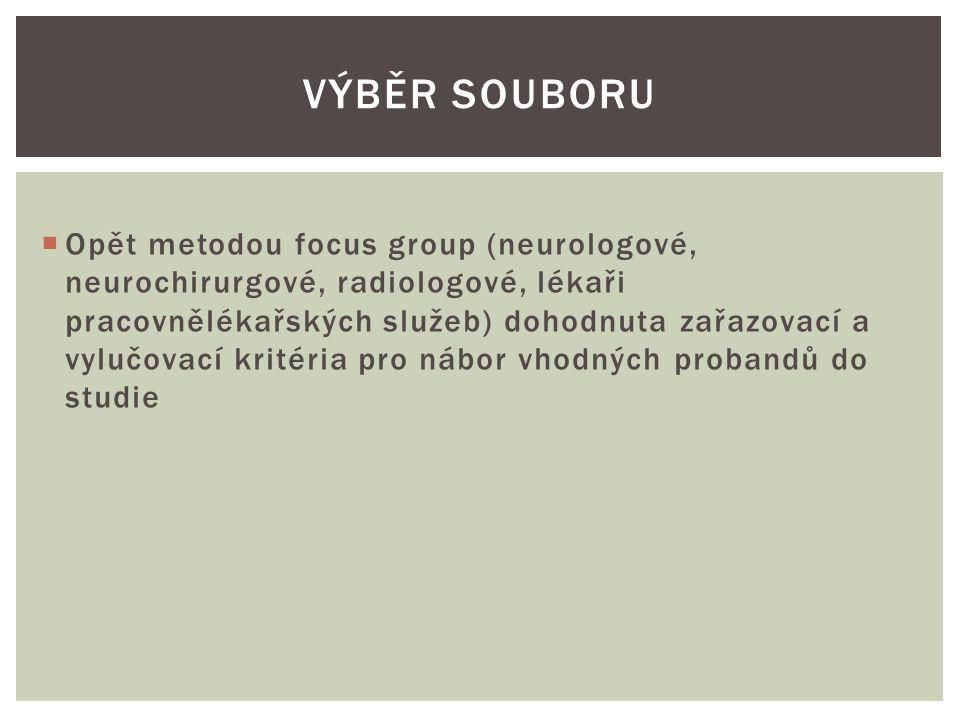  Opět metodou focus group (neurologové, neurochirurgové, radiologové, lékaři pracovnělékařských služeb) dohodnuta zařazovací a vylučovací kritéria pro nábor vhodných probandů do studie  Nález se zjistí už v prvním roce rizikového pracovního zařazení  Pacient nesouhlasí se zařazením do studie  Pacient je exponován celkovým vertikálním vibracím VÝBĚR SOUBORU