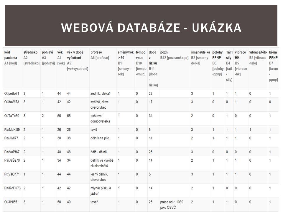 WEBOVÁ DATABÁZE - UKÁZKA