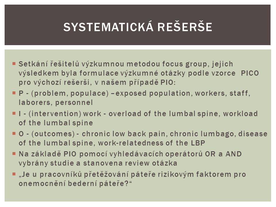 """ Setkání řešitelů výzkumnou metodou focus group, jejich výsledkem byla formulace výzkumné otázky podle vzorce PICO pro výchozí rešerši, v našem případě PIO:  P - (problem, populace) –exposed population, workers, staff, laborers, personnel  I - (intervention) work - overload of the lumbal spine, workload of the lumbal spine  O - (outcomes) - chronic low back pain, chronic lumbago, disease of the lumbal spine, work-relatedness of the LBP  Na základě PIO pomocí vyhledávacích operátorů OR a AND vybrány studie a stanovena review otázka  """"Je u pracovníků přetěžování páteře rizikovým faktorem pro onemocnění bederní páteře? SYSTEMATICKÁ REŠERŠE"""