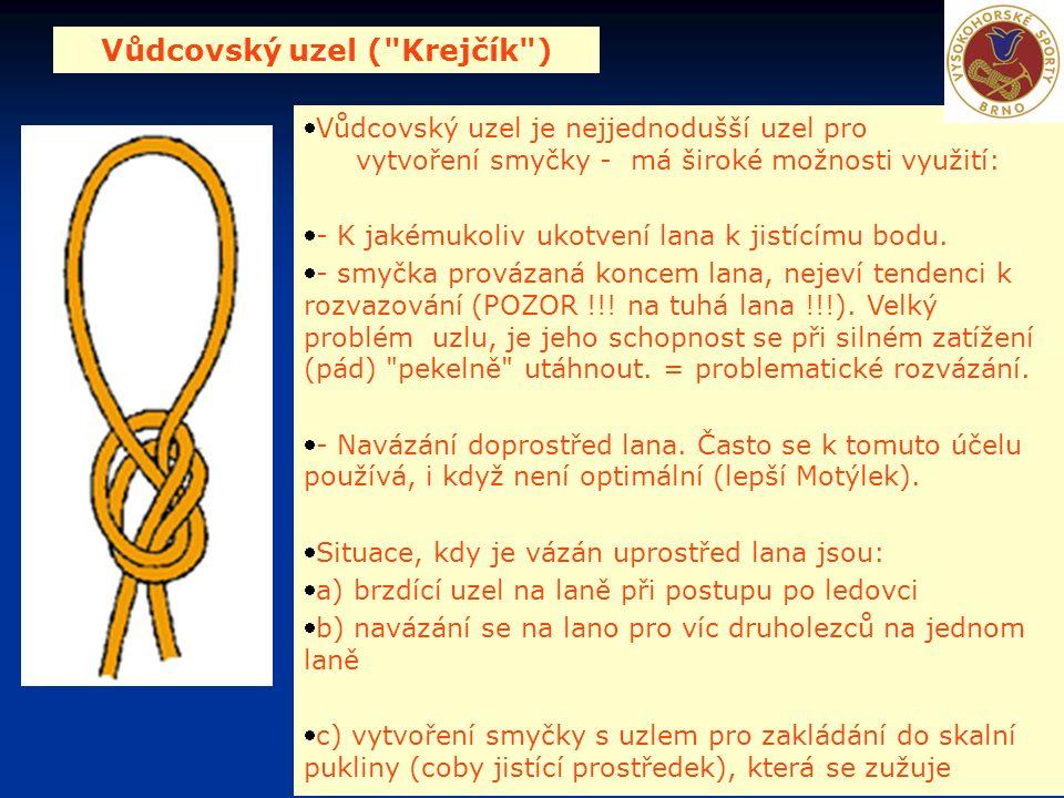 Vůdcovský uzel ( Krejčík ) Vůdcovský uzel je nejjednodušší uzel pro vytvoření smyčky - má široké možnosti využití: - K jakémukoliv ukotvení lana k jistícímu bodu.