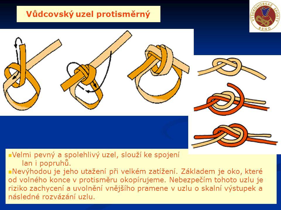 Vůdcovský uzel protisměrný Velmi pevný a spolehlivý uzel, slouží ke spojení lan i popruhů.