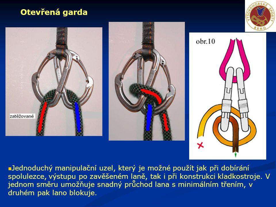 Otevřená garda Jednoduchý manipulační uzel, který je možné použít jak při dobírání spolulezce, výstupu po zavěšeném laně, tak i při konstrukci kladkos