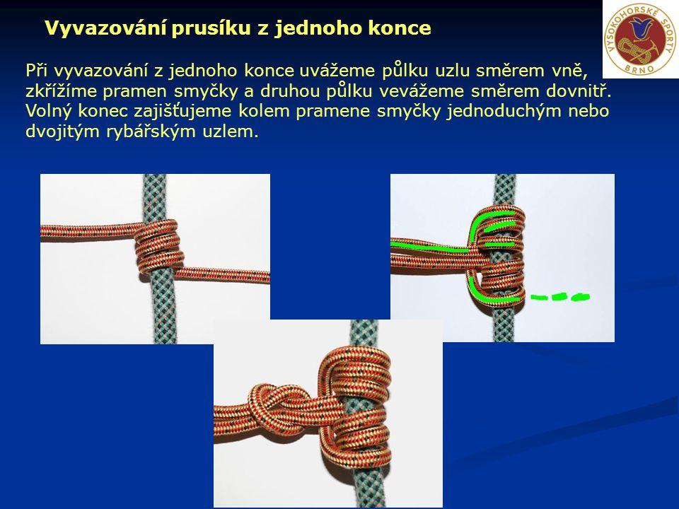 Vyvazování prusíku z jednoho konce Při vyvazování z jednoho konce uvážeme půlku uzlu směrem vně, zkřížíme pramen smyčky a druhou půlku vevážeme směrem dovnitř.