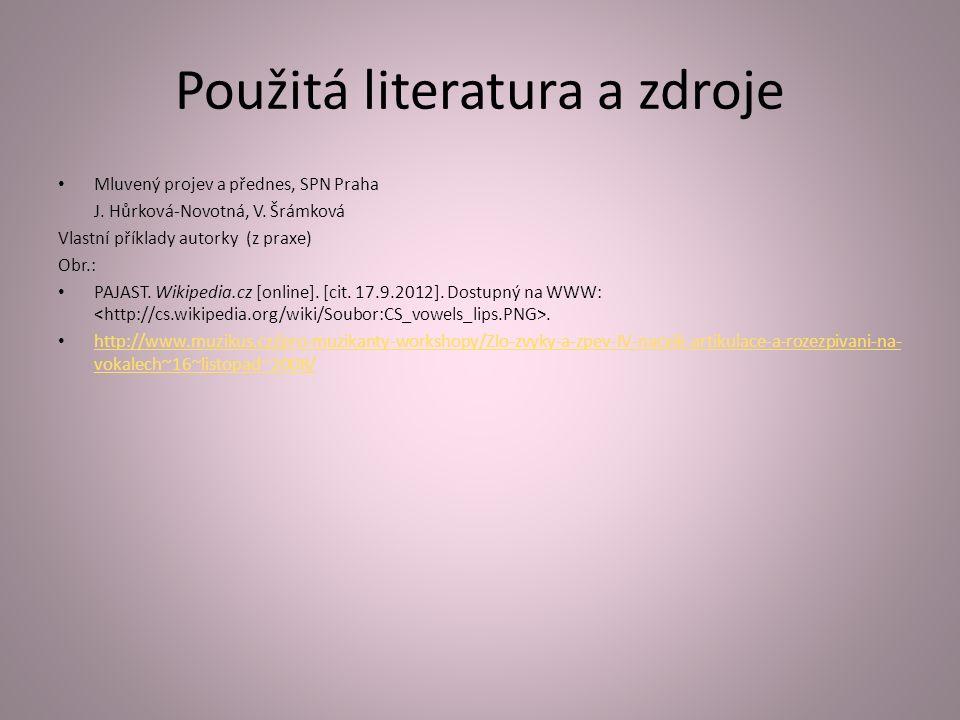 Použitá literatura a zdroje Mluvený projev a přednes, SPN Praha J.