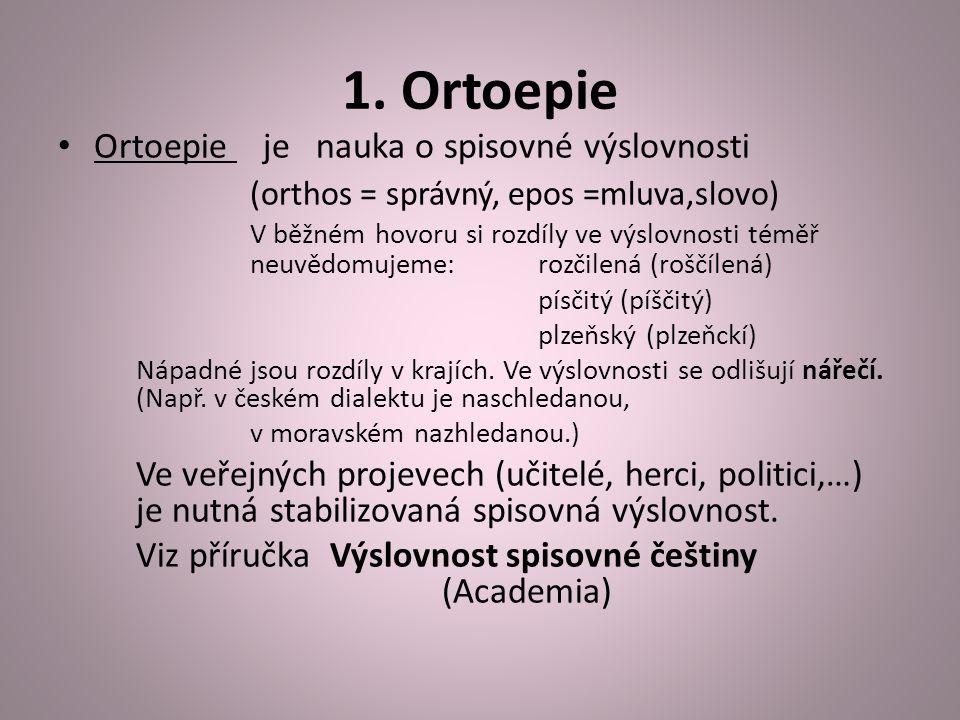 1. Ortoepie Ortoepie je nauka o spisovné výslovnosti (orthos = správný, epos =mluva,slovo) V běžném hovoru si rozdíly ve výslovnosti téměř neuvědomuje