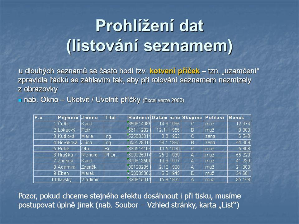 Prohlížení dat (listování seznamem) u dlouhých seznamů se často hodí tzv.