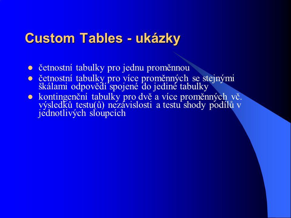 Custom Tables - ukázky četnostní tabulky pro jednu proměnnou četnostní tabulky pro více proměnných se stejnými škálami odpovědí spojené do jediné tabulky kontingenční tabulky pro dvě a více proměnných vč.