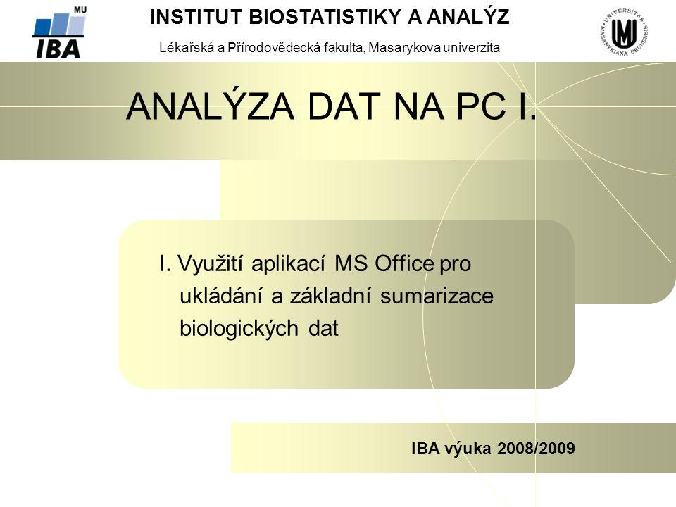INSTITUT BIOSTATISTIKY A ANALÝZ Lékařská a Přírodovědecká fakulta, Masarykova univerzita IBA výuka 2008/2009 ANALÝZA DAT NA PC I.