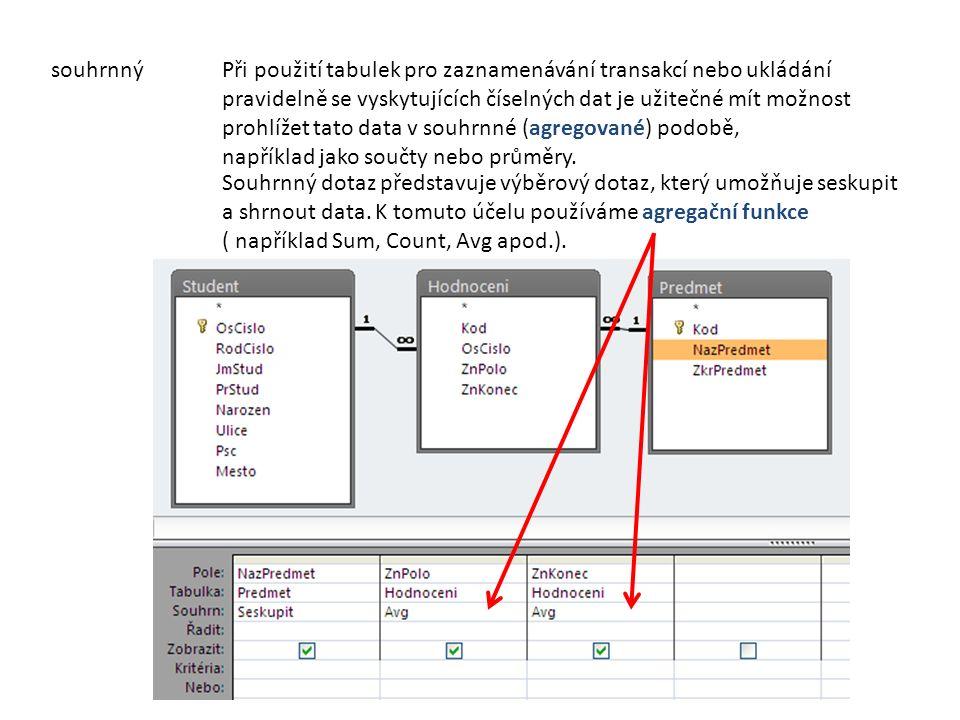 souhrnnýPři použití tabulek pro zaznamenávání transakcí nebo ukládání pravidelně se vyskytujících číselných dat je užitečné mít možnost prohlížet tato data v souhrnné (agregované) podobě, například jako součty nebo průměry.
