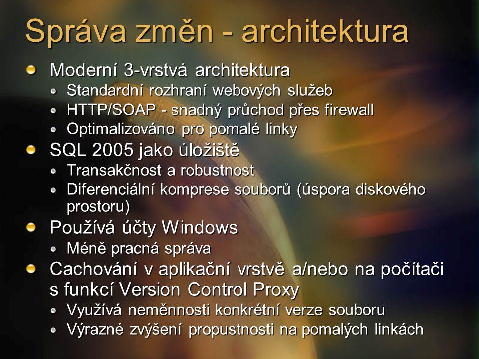 Moderní 3-vrstvá architektura Standardní rozhraní webových služeb HTTP/SOAP - snadný průchod přes firewall Optimalizováno pro pomalé linky SQL 2005 jako úložiště Transakčnost a robustnost Diferenciální komprese souborů (úspora diskového prostoru) Používá účty Windows Méně pracná správa Cachování v aplikační vrstvě a/nebo na počítači s funkcí Version Control Proxy Využívá neměnnosti konkrétní verze souboru Výrazné zvýšení propustnosti na pomalých linkách Správa změn - architektura