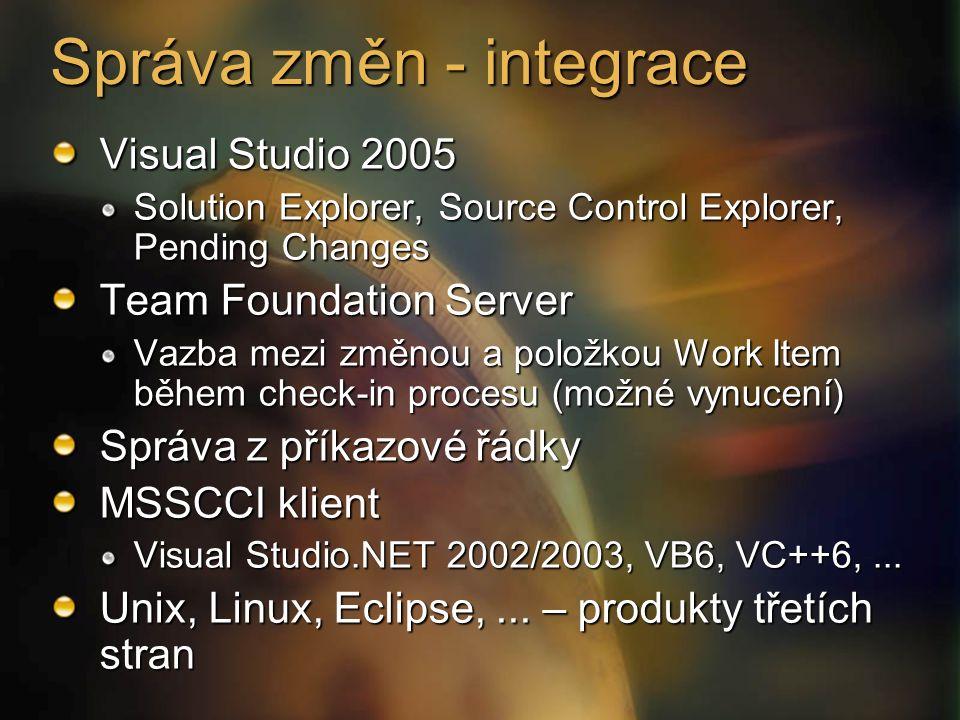 Visual Studio 2005 Solution Explorer, Source Control Explorer, Pending Changes Team Foundation Server Vazba mezi změnou a položkou Work Item během check-in procesu (možné vynucení) Správa z příkazové řádky MSSCCI klient Visual Studio.NET 2002/2003, VB6, VC++6,...