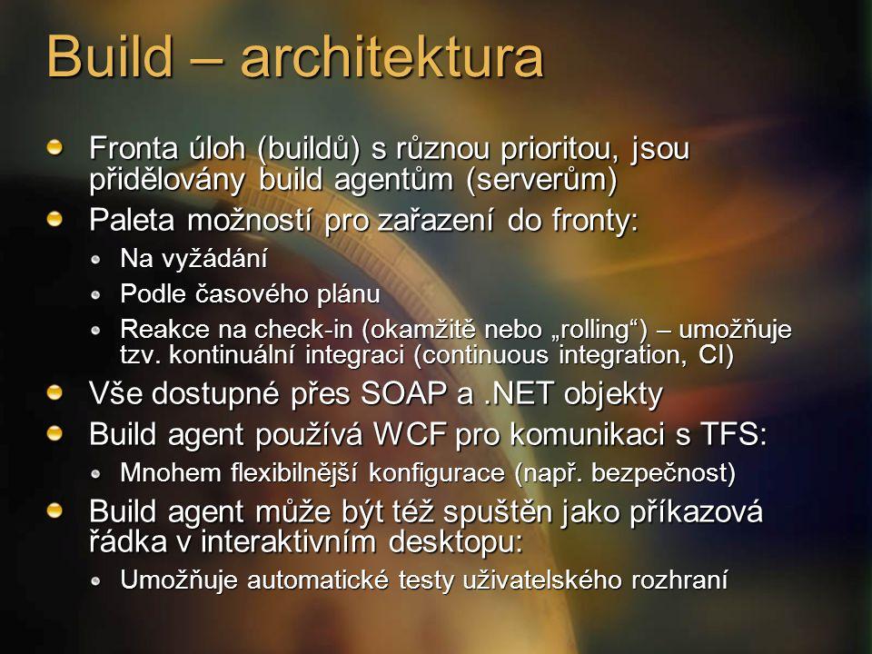 """Build – architektura Fronta úloh (buildů) s různou prioritou, jsou přidělovány build agentům (serverům) Paleta možností pro zařazení do fronty: Na vyžádání Podle časového plánu Reakce na check-in (okamžitě nebo """"rolling ) – umožňuje tzv."""