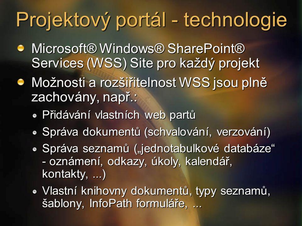 """Projektový portál - technologie Microsoft® Windows® SharePoint® Services (WSS) Site pro každý projekt Možnosti a rozšiřitelnost WSS jsou plně zachovány, např.: Přidávání vlastních web partů Správa dokumentů (schvalování, verzování) Správa seznamů (""""jednotabulkové databáze - oznámení, odkazy, úkoly, kalendář, kontakty,...) Vlastní knihovny dokumentů, typy seznamů, šablony, InfoPath formuláře,..."""