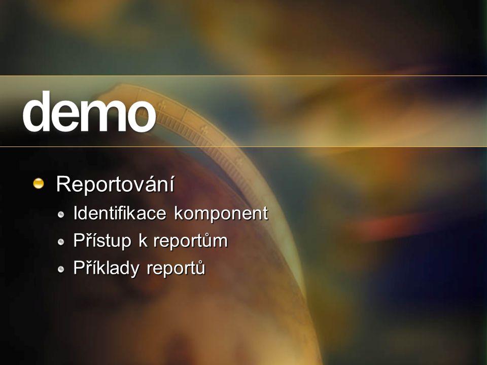Reportování Identifikace komponent Přístup k reportům Příklady reportů