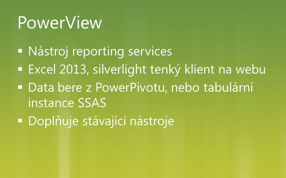 PowerView  Nástroj reporting services  Excel 2013, silverlight tenký klient na webu  Data bere z PowerPivotu, nebo tabulární instance SSAS  Doplňuje stávající nástroje