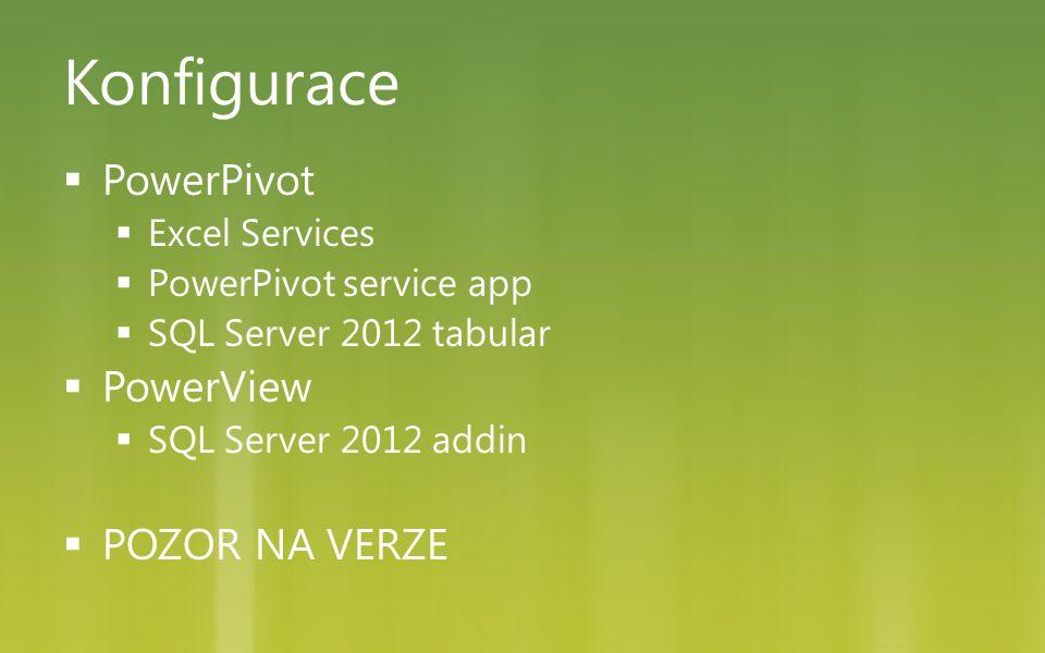 Konfigurace  PowerPivot  Excel Services  PowerPivot service app  SQL Server 2012 tabular  PowerView  SQL Server 2012 addin  POZOR NA VERZE