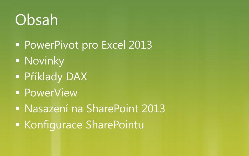 Obsah  PowerPivot pro Excel 2013  Novinky  Příklady DAX  PowerView  Nasazení na SharePoint 2013  Konfigurace SharePointu