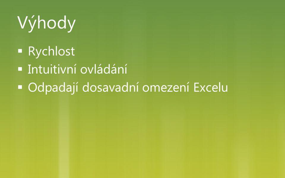 Výhody  Rychlost  Intuitivní ovládání  Odpadají dosavadní omezení Excelu