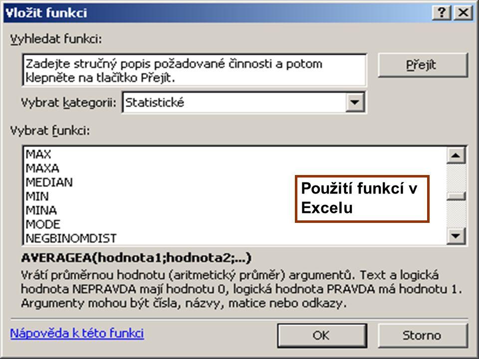 33 Použití funkcí v Excelu