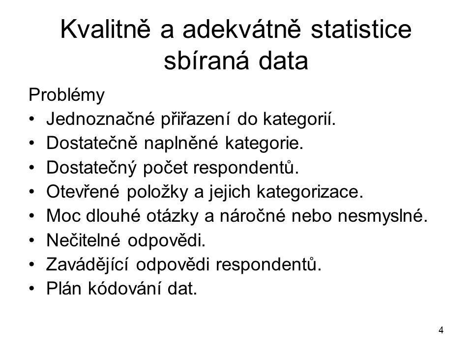 4 Kvalitně a adekvátně statistice sbíraná data Problémy Jednoznačné přiřazení do kategorií.