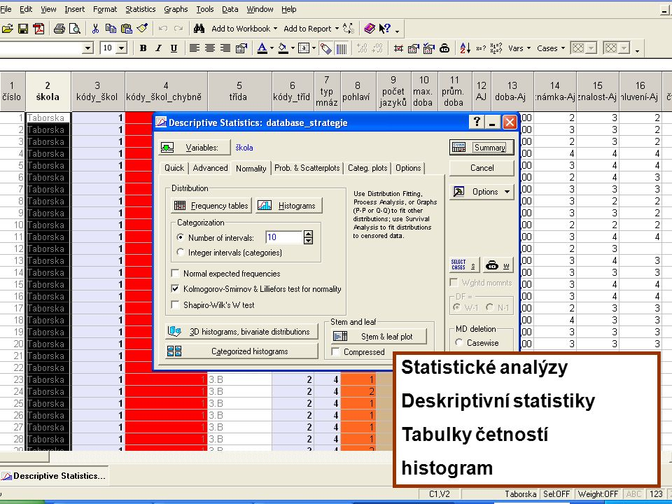 49 Statistické analýzy Deskriptivní statistiky Tabulky četností histogram
