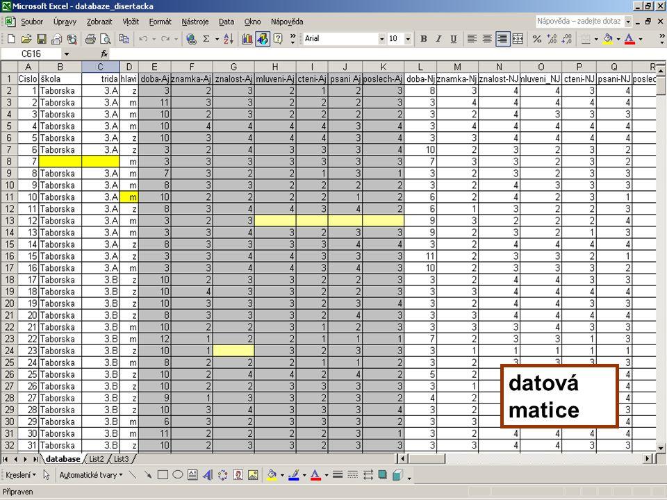 7 Datová matice Datová matice je uspořádaný soubor dat uzavřený soubor dat u longitudinálního výzkumu – otevřený utřídění dat do datové matice lépe umožňuje výsledky statisticky zpracovat datovou matici zkontrolovat bude tam dost chyb např.