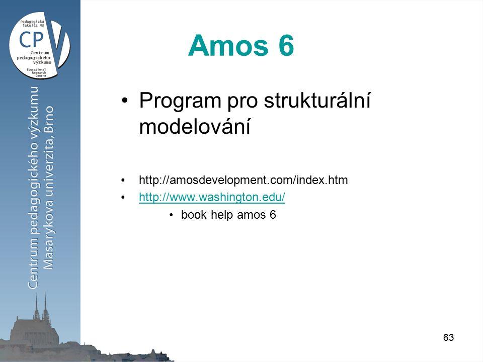 63 Amos 6 Program pro strukturální modelování http://amosdevelopment.com/index.htm http://www.washington.edu/ book help amos 6