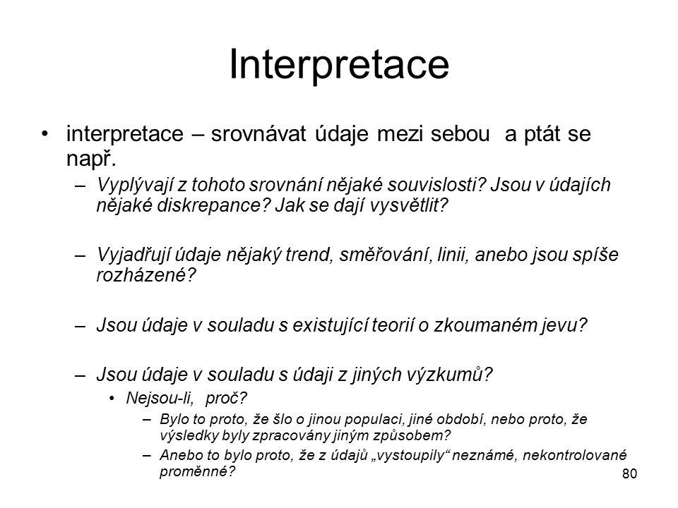 80 Interpretace interpretace – srovnávat údaje mezi sebou a ptát se např.