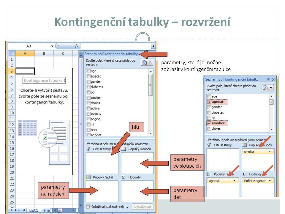 Kontingenční tabulky – rozvržení parametry na řádcích parametry dat parametry ve sloupcích parametry, které je možné zobrazit v kontingenční tabulce filtr