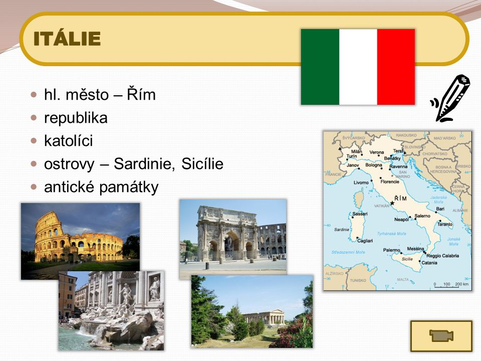 hl. město – Řím republika katolíci ostrovy – Sardinie, Sicílie antické památky
