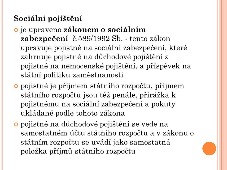 Sociální pojištění je upraveno zákonem o sociálním zabezpečení č.589/1992 Sb.