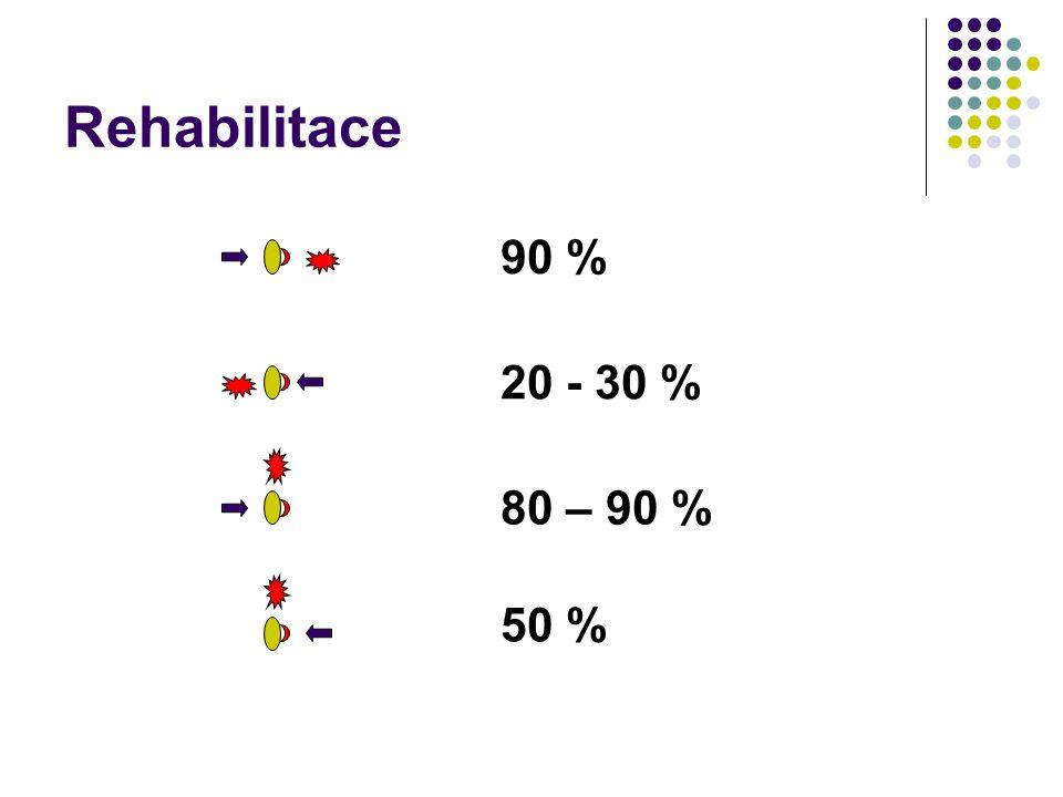 Rehabilitace 90 % 20 - 30 % 80 – 90 % 50 %