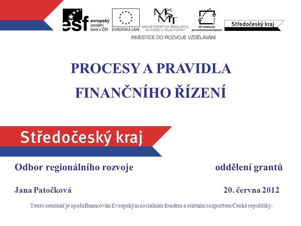 Odbor regionálního rozvoje oddělení grantů Jana Patočková 20.