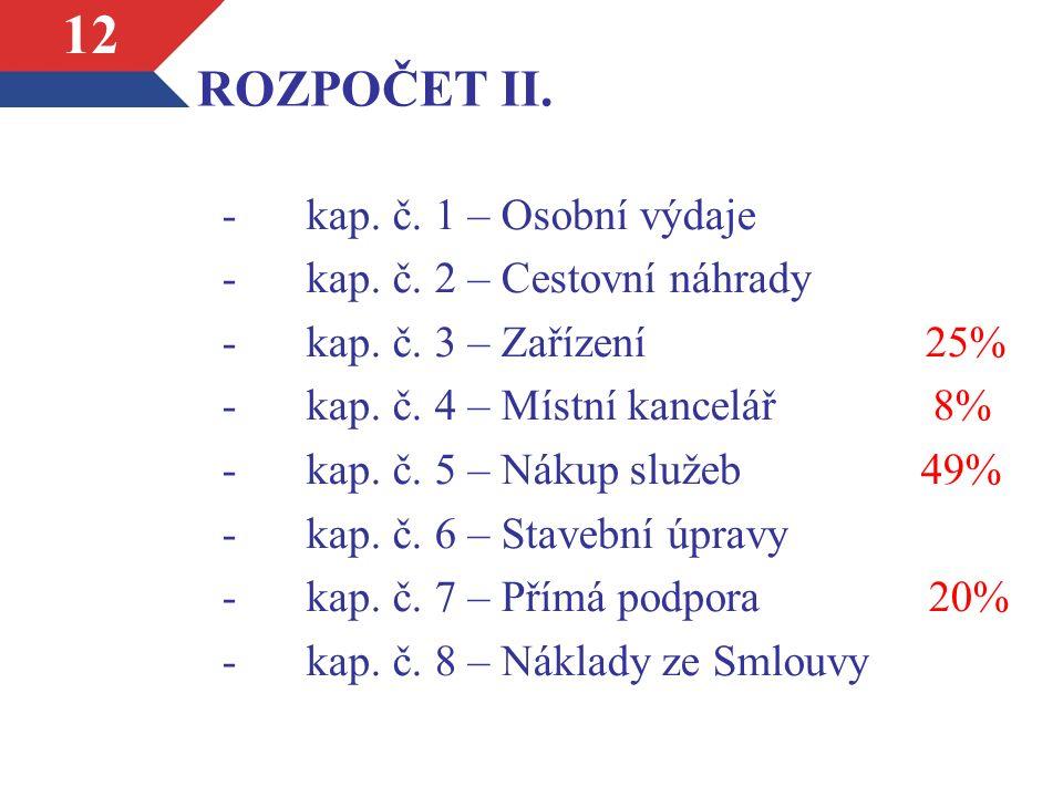 ROZPOČET II. -kap. č. 1 – Osobní výdaje -kap. č.