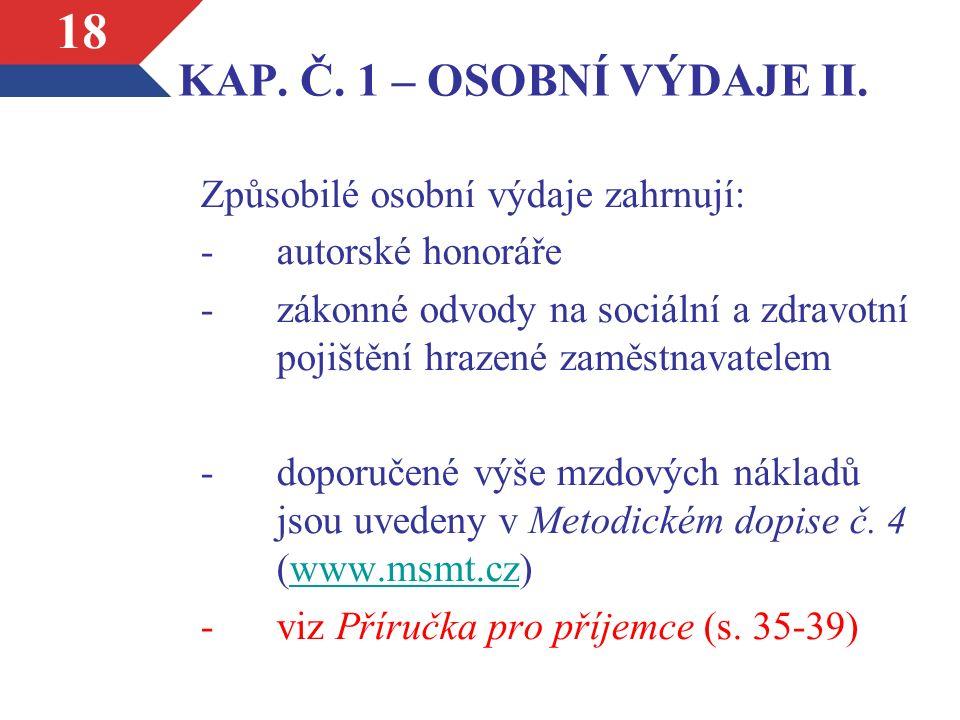 KAP. Č. 1 – OSOBNÍ VÝDAJE II.
