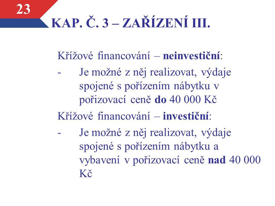 KAP. Č. 3 – ZAŘÍZENÍ III.