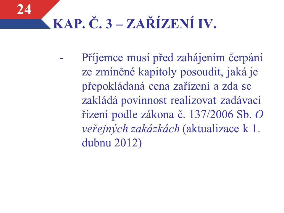 KAP. Č. 3 – ZAŘÍZENÍ IV.